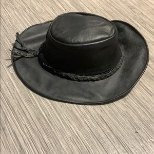 All leather black hat